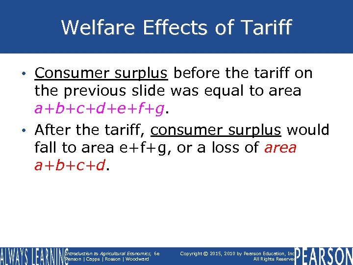 Welfare Effects of Tariff • Consumer surplus before the tariff on the previous slide