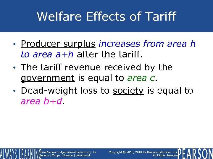 Welfare Effects of Tariff • Producer surplus increases from area h to area a+h