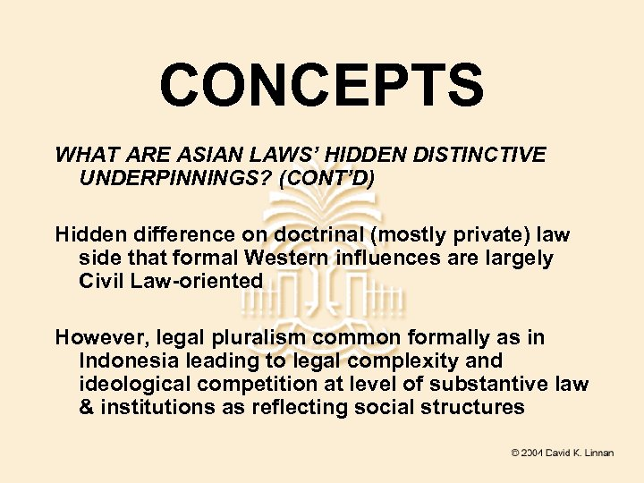 CONCEPTS WHAT ARE ASIAN LAWS' HIDDEN DISTINCTIVE UNDERPINNINGS? (CONT'D) Hidden difference on doctrinal (mostly