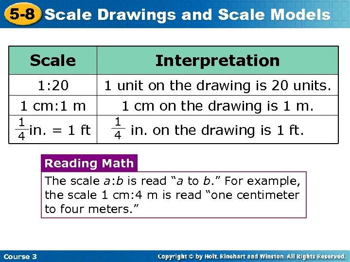 5 -8 Scale Drawings and Scale Models Scale Interpretation 1: 20 1 unit on