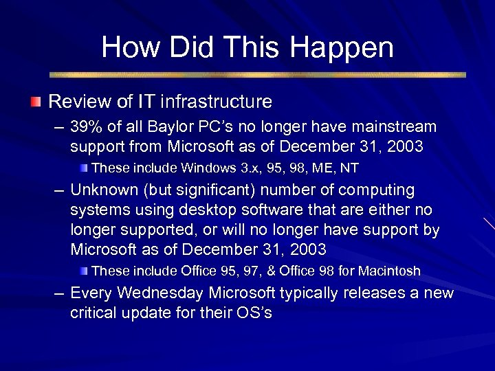 How Did This Happen Review of IT infrastructure – 39% of all Baylor PC's