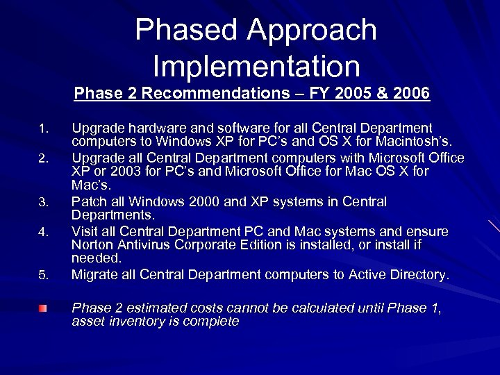 Phased Approach Implementation Phase 2 Recommendations – FY 2005 & 2006 1. 2. 3.