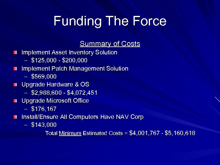 Funding The Force Summary of Costs Implement Asset Inventory Solution – $125, 000 -