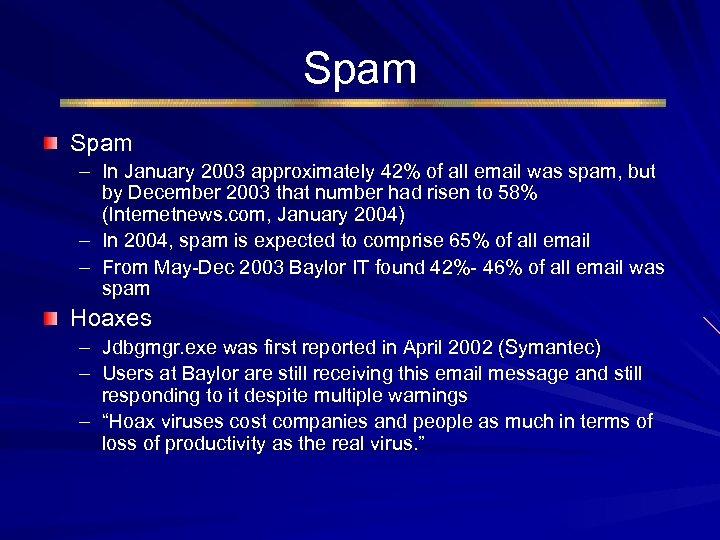 Spam – In January 2003 approximately 42% of all email was spam, but by