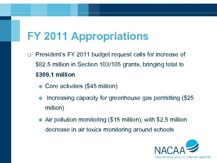 FY 2011 Appropriations q President's FY 2011 budget request calls for increase of $82.