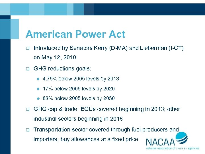 American Power Act q Introduced by Senators Kerry (D-MA) and Lieberman (I-CT) on May