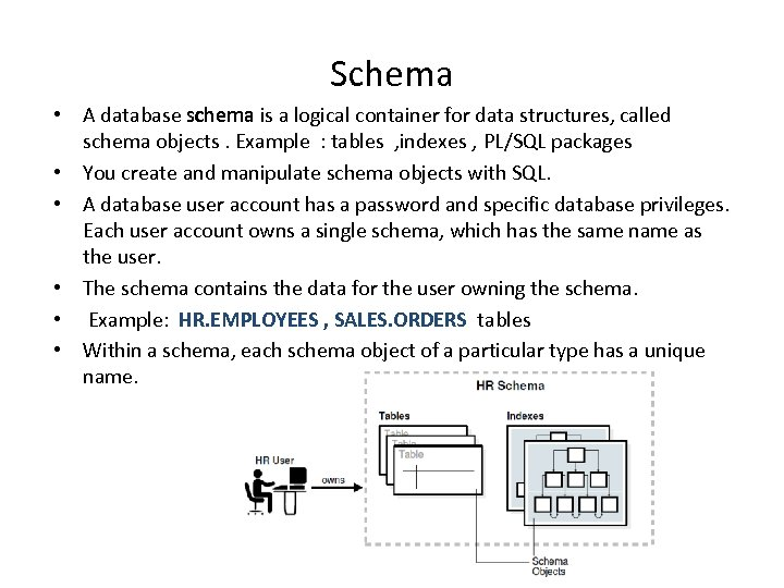 Schema • A database schema is a logical container for data structures, called schema