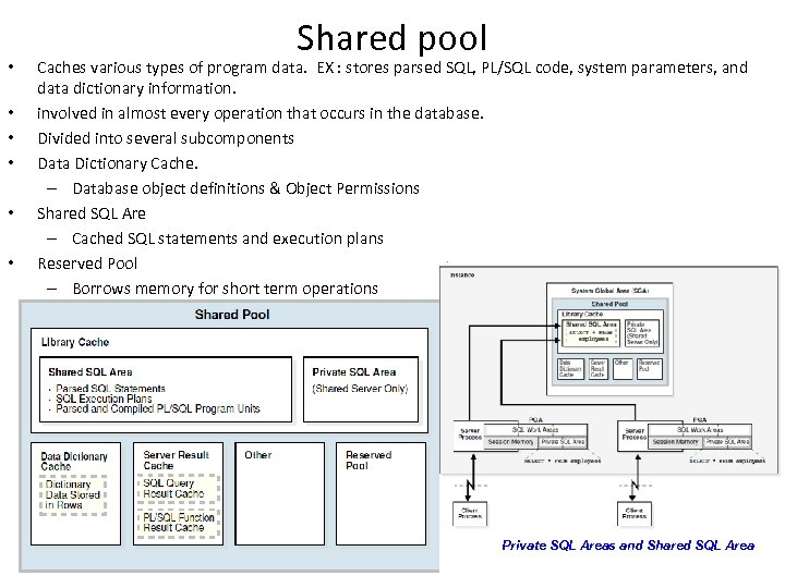 • • • Shared pool Caches various types of program data. EX :