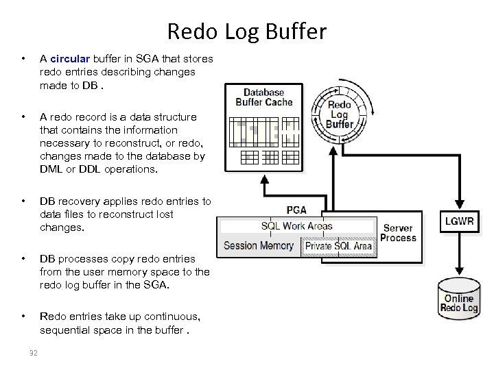 Redo Log Buffer • A circular buffer in SGA that stores redo entries describing