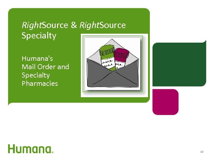 Right. Source & Right. Source Specialty Humana's Mail Order and Specialty Pharmacies 10