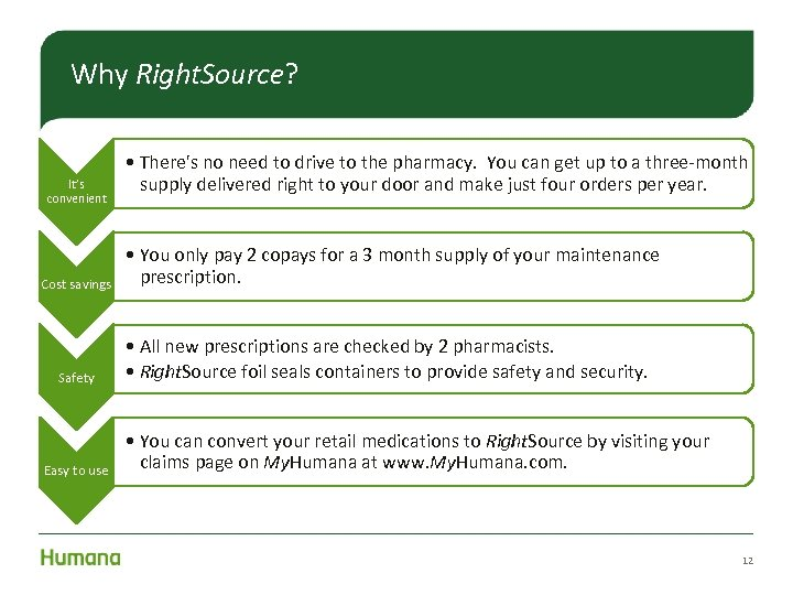 Why Right. Source? It's convenient Cost savings Safety Easy to use • There's no