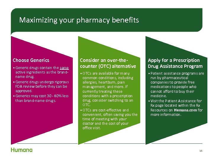 Maximizing your pharmacy benefits Choose Generics • Generic drugs contain the same active ingredients