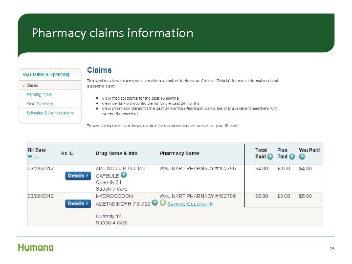 Pharmacy claims information 23