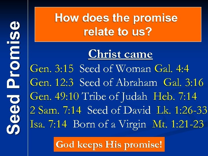 Seed Promise How does the promise relate to us? Christ came Gen. 3: 15