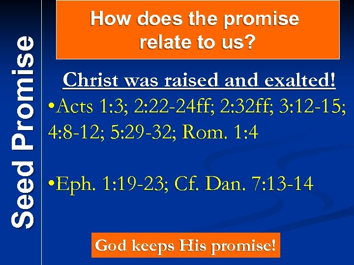 Seed Promise How does the promise relate to us? Christ was raised and exalted!