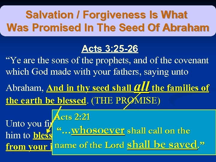 Salvation / Forgiveness Is What Was Promised In The Seed Of Abraham Acts 3: