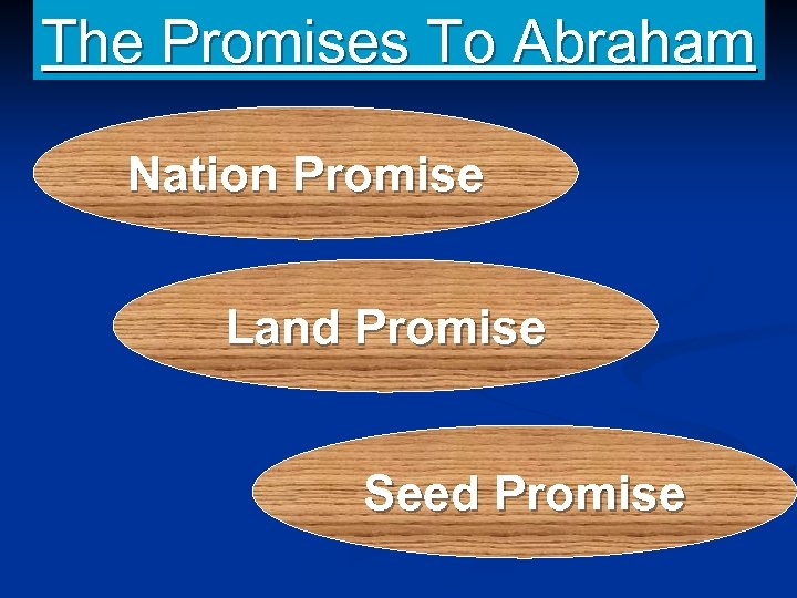 The Promises To Abraham Nation Promise Land Promise Seed Promise