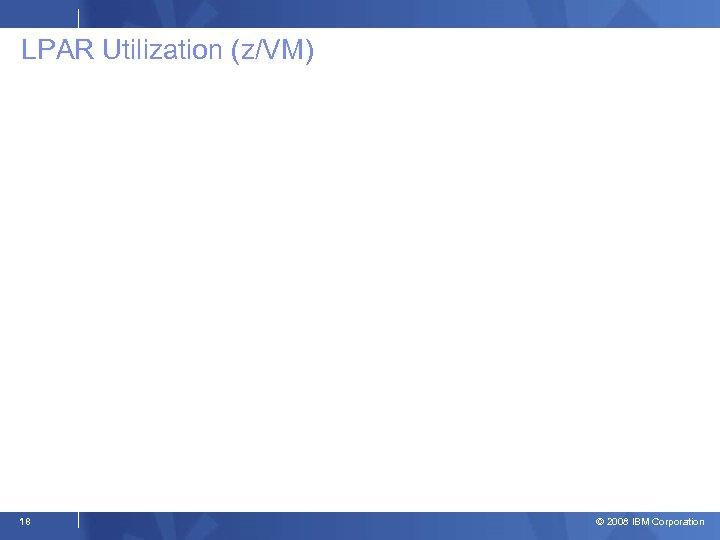 LPAR Utilization (z/VM) 18 © 2008 IBM Corporation