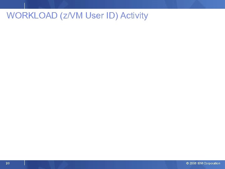 WORKLOAD (z/VM User ID) Activity 20 © 2008 IBM Corporation