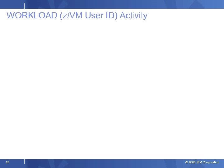 WORKLOAD (z/VM User ID) Activity 20 © 2008 IBM Corporation