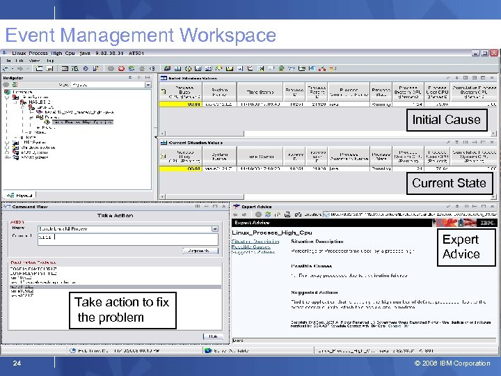 Event Management Workspace Initial Cause Current State Expert Advice Take action to fix the