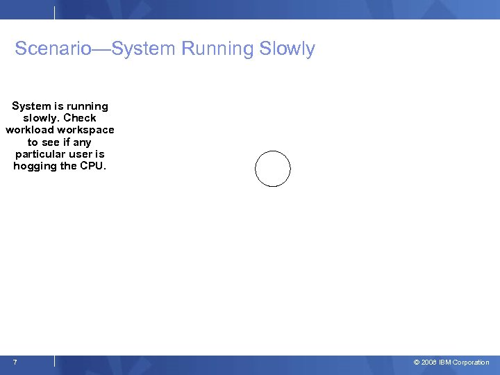 Scenario—System Running Slowly System is running slowly. Check workload workspace to see if any