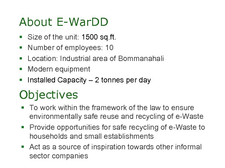 About E-War. DD § § § Size of the unit: 1500 sq. ft. Number