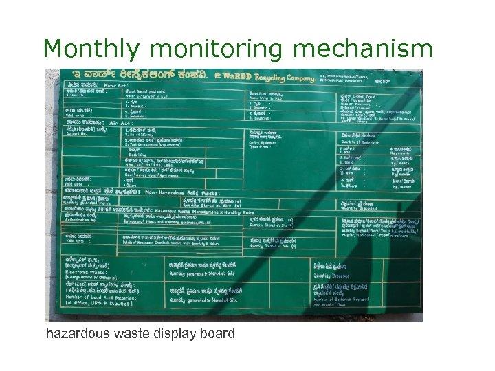 Monthly monitoring mechanism hazardous waste display board