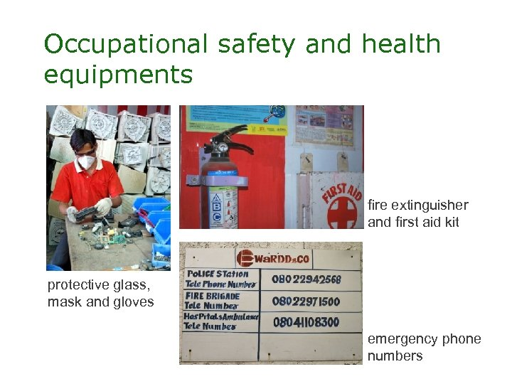 Occupational safety and health equipments fire extinguisher and first aid kit protective glass, mask