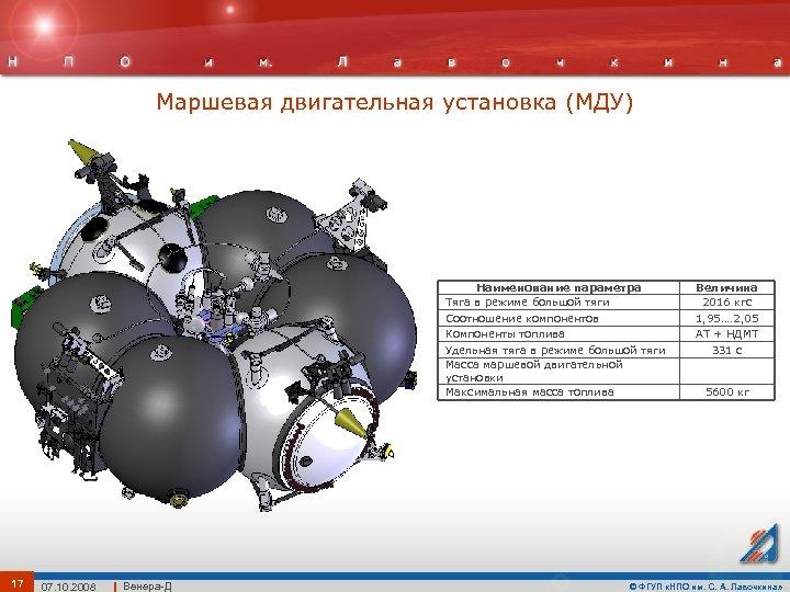 Маршевая двигательная установка (МДУ) Наименование параметра Тяга в режиме большой тяги Соотношение компонентов Компоненты