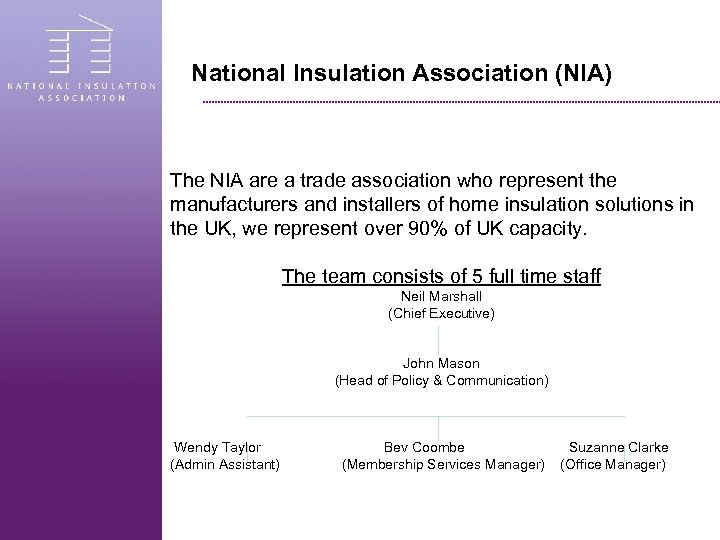 National Insulation Association (NIA) The NIA are a trade association who represent the manufacturers