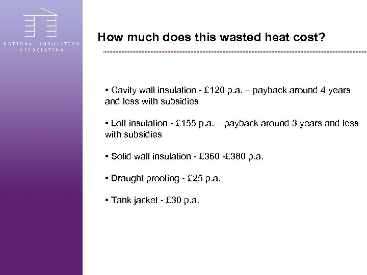 How much does this wasted heat cost? • Cavity wall insulation - £ 120