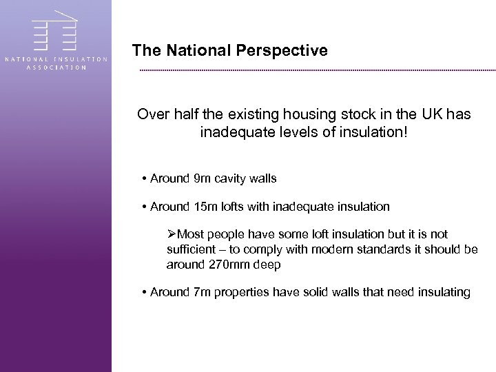 The National Perspective Over half the existing housing stock in the UK has inadequate