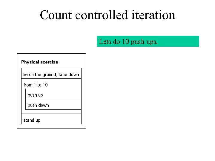Count controlled iteration Lets do 10 push ups.