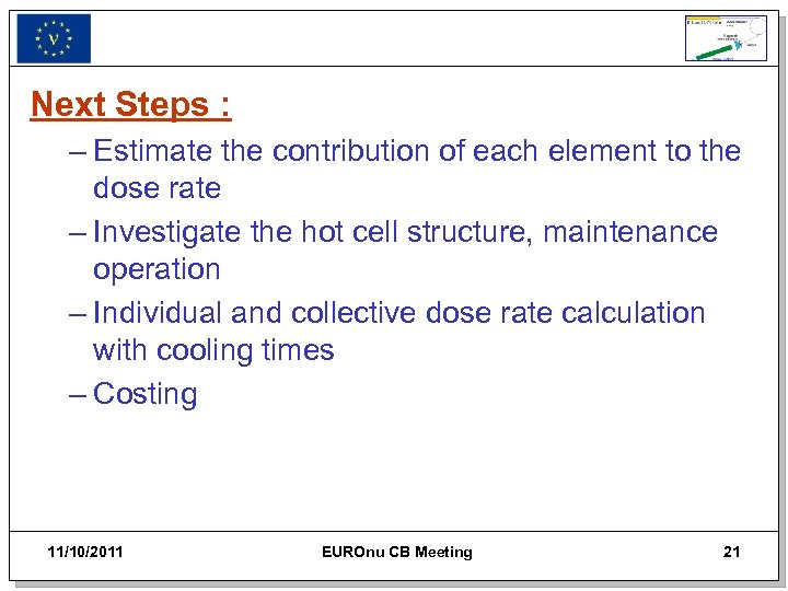 Next Steps : – Estimate the contribution of each element to the dose rate