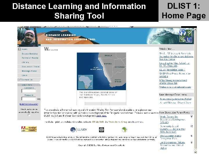 Distance Learning and Information Sharing Tool DLIST 1: Home Page
