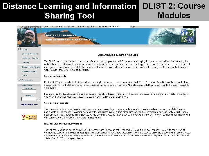 Distance Learning and Information DLIST 2: Course Modules Sharing Tool