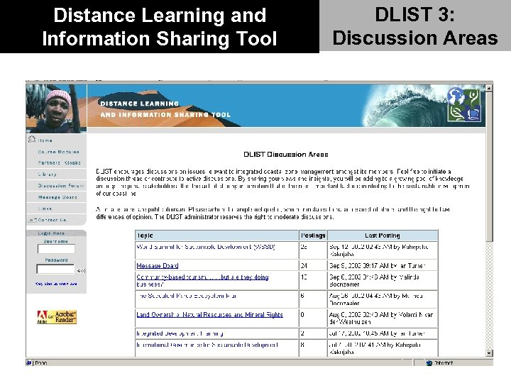 Distance Learning and Information Sharing Tool DLIST 3: Discussion Areas