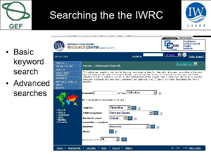 Searching the IWRC • Basic keyword search • Advanced searches