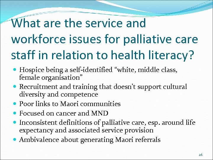 What are the service and workforce issues for palliative care staff in relation to