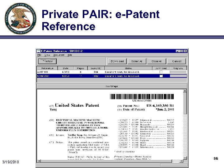 Private PAIR: e-Patent Reference 3/19/2018 36