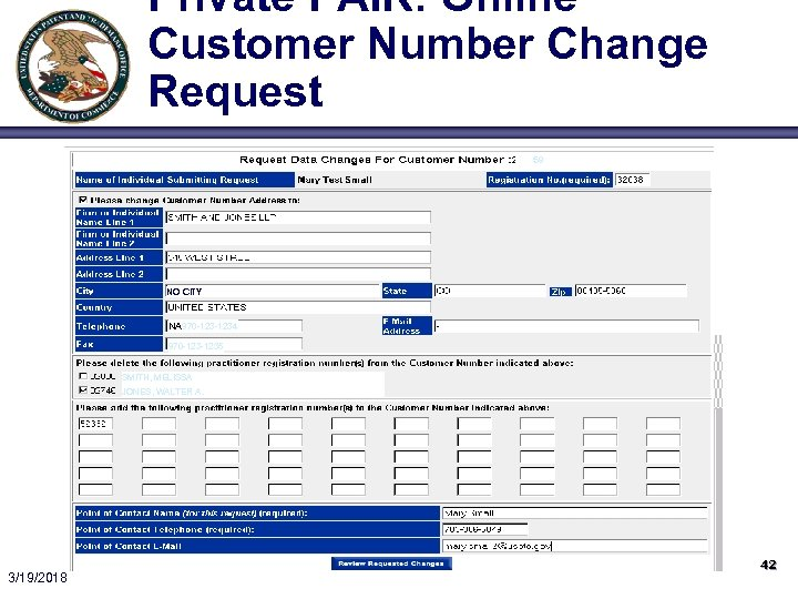 Private PAIR: Online Customer Number Change Request 59 NO CITY NA 970 -1234 970