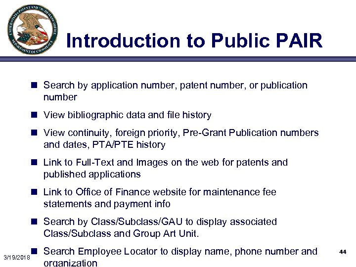 Introduction to Public PAIR n Search by application number, patent number, or publication number