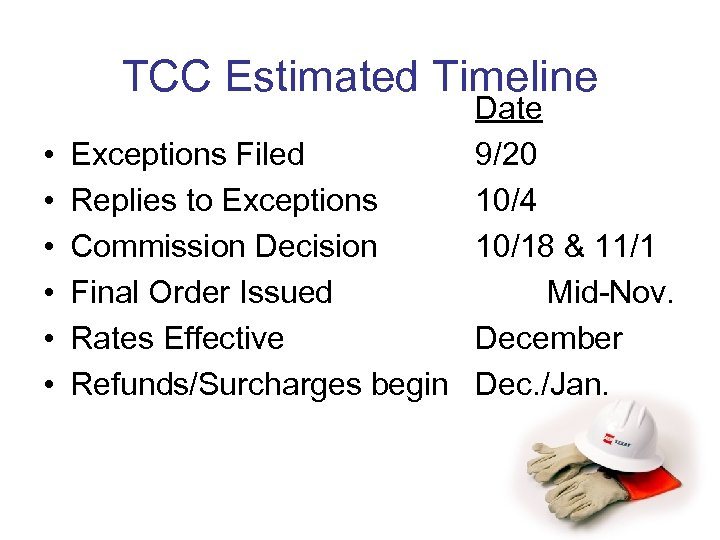 TCC Estimated Timeline • • • Date Exceptions Filed 9/20 Replies to Exceptions 10/4
