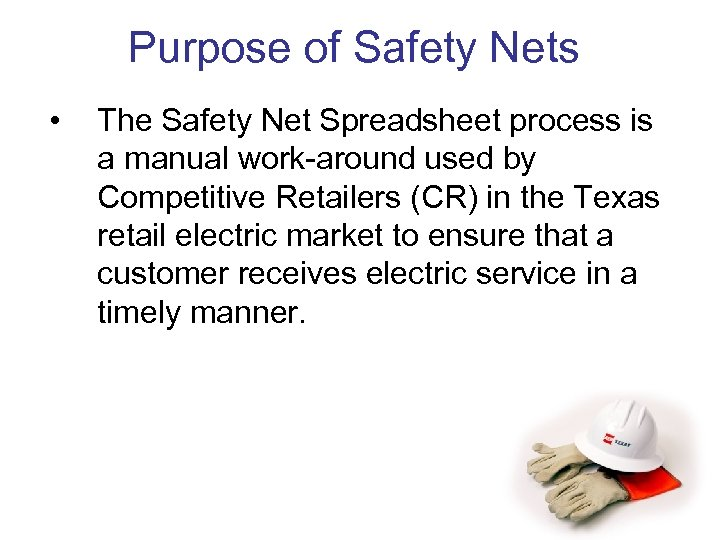 Purpose of Safety Nets • The Safety Net Spreadsheet process is a manual work-around
