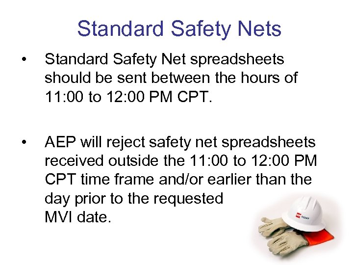 Standard Safety Nets • Standard Safety Net spreadsheets should be sent between the hours