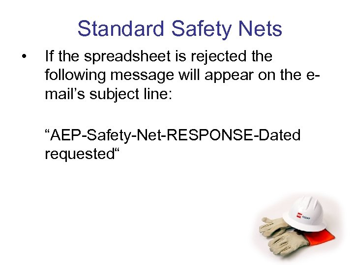 Standard Safety Nets • If the spreadsheet is rejected the following message will appear