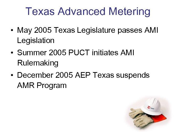 Texas Advanced Metering • May 2005 Texas Legislature passes AMI Legislation • Summer 2005