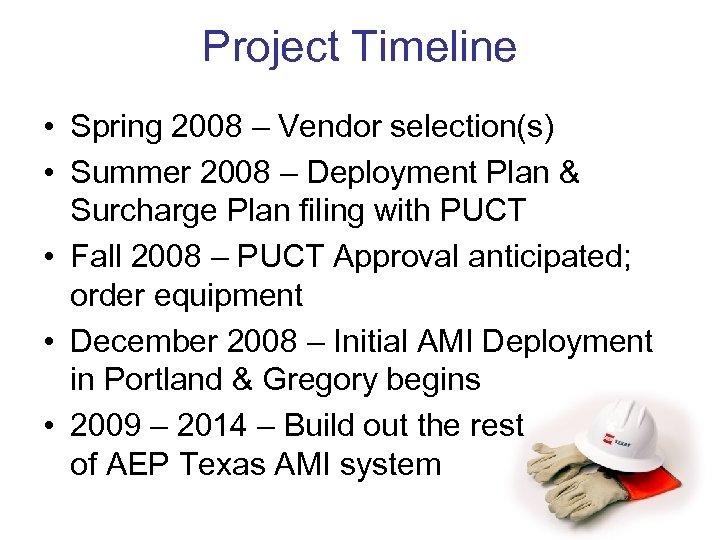 Project Timeline • Spring 2008 – Vendor selection(s) • Summer 2008 – Deployment Plan