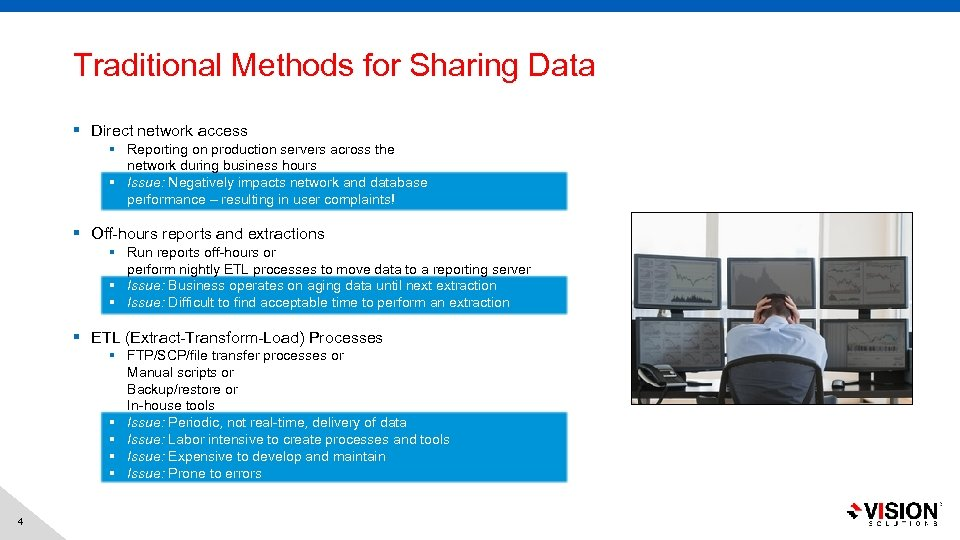 Traditional Methods for Sharing Data § Direct network access § Reporting on production servers